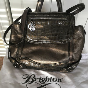 Brighton Gray Leather Convertible Backpack